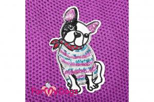 Obleček pro psy i fenky – stylový a teplý svetr PURPLE FRENCHIE od ForMyDogs. Materiál 100% akryl, zdobený aplikací s francouzským buldočkem. Barva fialová. (3)