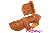 Obleček pro psy i fenky od FMD – teplá zimní bunda BROWN z voduodpuzujícího materiálu. Bunda je zateplená sinteponem a má hedvábnou podšívku. (2)