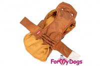 Obleček pro psy i fenky od FMD – teplá zimní bunda BROWN z voduodpuzujícího materiálu. Bunda je zateplená sinteponem a má hedvábnou podšívku. (4)