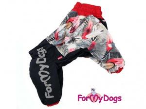 Obleček pro fenky – černo-červený zimní overal od ForMyDogs