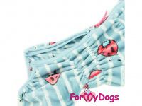 Obleček pro psy – teplý zimní overal STRAWBERRY BLUE od ForMyDogs z plyšové kožešiny. Zapínání na zip zádech, zvýšený límec pro lepší ochranu krku. (3)