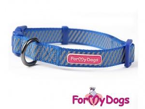 Obojky pro psy – modrý obojek z kolekce ForMyDogs BLUE REFLECTIVE STRIPES (2)