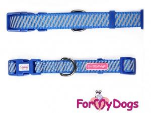 Obojky pro psy – modrý obojek z kolekce ForMyDogs BLUE REFLECTIVE STRIPES (3)