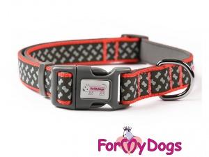 Obojky pro psy – černo-oranžový obojek z kolekce ForMyDogs BONES BLACK (2)