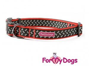 Obojky pro psy – černo-oranžový obojek z kolekce ForMyDogs BONES BLACK (3)