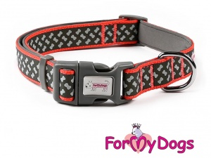 Obojky pro psy – černo-oranžový obojek z kolekce ForMyDogs BONES BLACK