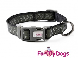 Obojky pro psy –  černý obojek z kolekce ForMyDogs BONES