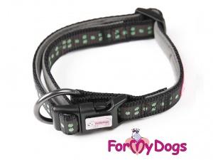 Obojky pro psy – černozelený obojek pro psy i fenky z kolekce ForMyDogs GREEN PAWS (2)