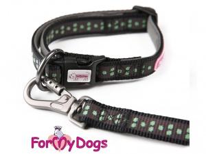 Obojky pro psy – černozelený obojek pro psy i fenky z kolekce ForMyDogs GREEN PAWS (3)