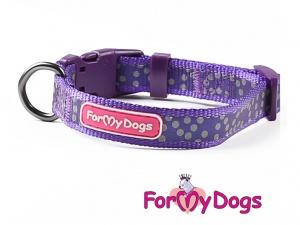 Obojky pro psy – fialový puntíkovaný obojek z kolekce ForMyDogs PURPLE DOTS (2)