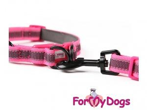 Obojky pro psy – růžový obojek z kolekce ForMyDogs RETROREFLECTIVE FUCHSIA (3)