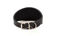 Luxusní obojek pro chrty a psy s citlivým krkem BOBBY Luxury Leather z pevné černé kůže zdobený krystaly SWAROVSKI (6).