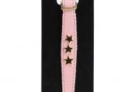 Luxusní kožený obojek pro kočky BOBBY – růžový se zlatými hvězdami. Klasické zapínání s bezpečnostní gumou, univerzální velikost (2).