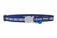 Modrý obojek pro kočky z kvalitního nylonu s bezpečnostní plastovou sponou Fish Clip.