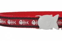Červený obojek pro kočky z kvalitního nylonu s bezpečnostní plastovou sponou Fish Clip. Pro kočky s obvodem krku 20–32 cm, šířka obojku 12 mm (2).