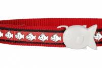Červený reflexní obojek pro kočky z kvalitního nylonu s bezpečnostní plastovou sponou Fish Clip (2).