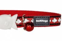 Červený reflexní obojek pro kočky z kvalitního nylonu s bezpečnostní plastovou sponou Fish Clip (3).