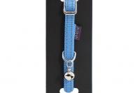 Stylový obojek pro kočky BOBBY – modrý se stříbrnou rolničkou. Reflexní prvky, klasické zapínání, univerzální velikost (2).