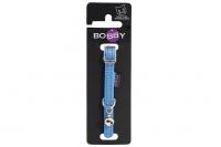 Stylový obojek pro kočky BOBBY – modrý se stříbrnou rolničkou. Reflexní prvky, klasické zapínání, univerzální velikost.