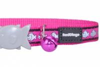 Růžový reflexní obojek pro kočky z kvalitního nylonu s bezpečnostní plastovou sponou Fish Clip (3).