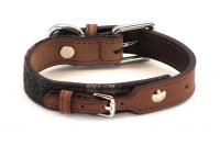 Stylový obojek pro psy ROSEWOOD Tweed Check z jemné měkké kůže s leštěnou přezkou.
