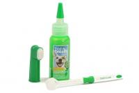 Oral Kit Small – sada na čištění zubů psů kartáčkem, která obsahuje gel na čištění zubů, kartáček na prst a kartáček s trojitou hlavou (2).