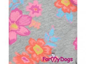 Obleček pro psy i fenky – overal DAISIES s květinovým vzorem, detail