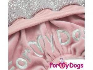 Obleček pro psy i fenky – lehoučký pletený overal z veluru, detail (2)