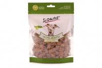 Vynikající pamlsky pro psy – kostky z lososa s goji a matchou. Pamlsky jsou sušené mrazem pro intenzivní chuť a zachování živin.