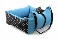 Modrá autosedačka pro psy – pelíšek pro pohodlné cestování a ochranu autosedadel před psími chlupy, nečistotami a poškozením. (4)