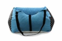 Modrá autosedačka pro psy – pelíšek pro pohodlné cestování a ochranu autosedadel před psími chlupy, nečistotami a poškozením. (5)