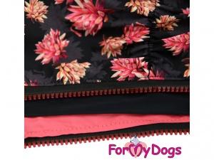 Obleček pro jezevčíky – pláštěnka pro fenky, černá s růžovým potiskem (detail 2)