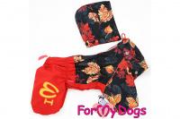 Obleček pro fenky malých až středních plemen – lehoučká pláštěnka LEAVES RED od For My Dogs. (3)