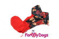 Obleček pro fenky malých až středních plemen – lehoučká pláštěnka LEAVES RED od For My Dogs. (4)