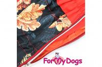 Obleček pro fenky malých až středních plemen – lehoučká pláštěnka LEAVES RED od For My Dogs. (5)