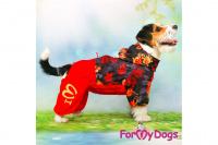 Obleček pro fenky malých až středních plemen – lehoučká pláštěnka LEAVES RED od For My Dogs. (6)