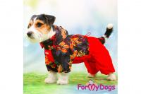 Obleček pro fenky malých až středních plemen – lehoučká pláštěnka LEAVES RED od For My Dogs. (7)