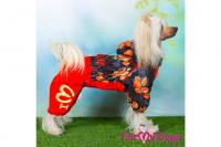 Obleček pro fenky malých až středních plemen – lehoučká pláštěnka LEAVES RED od For My Dogs. (8)