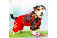 Obleček pro fenky malých až středních plemen – lehoučká pláštěnka LEAVES RED od For My Dogs. (9)