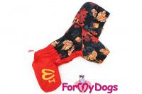 Obleček pro fenky malých až středních plemen – lehoučká pláštěnka LEAVES RED od For My Dogs.