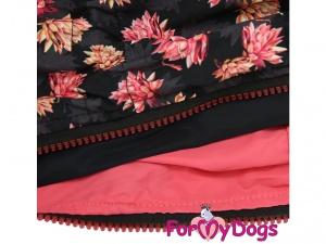 Oblečky pro psy i fenky – inovovaná, super komfortní a funkční pláštěnka pro fenky PINK FLOWER, detail