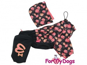 Oblečky pro psy i fenky – inovovaná, super komfortní a funkční pláštěnka pro fenky PINK FLOWER