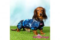 Obleček pro psy jezevčíků – lehoučká pláštěnka BLUE od ForMyDogs. Zapínání na zip na zádech, zvýšený límec, pružné lemy, nastavitelná gumička na břiše. (2)