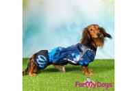 Obleček pro psy jezevčíků – lehoučká pláštěnka BLUE od ForMyDogs. Zapínání na zip na zádech, zvýšený límec, pružné lemy, nastavitelná gumička na břiše. (7)