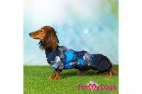 Obleček pro psy jezevčíků – lehoučká pláštěnka BLUE od ForMyDogs. Zapínání na zip na zádech, zvýšený límec, pružné lemy, nastavitelná gumička na břiše. (8)