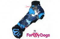 Obleček pro psy jezevčíků – lehoučká pláštěnka BLUE od ForMyDogs. Zapínání na zip na zádech, zvýšený límec, pružné lemy, nastavitelná gumička na břiše.