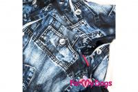 Obleček pro psy malých až středních plemen – lehoučká pláštěnka BLUE DENIM od ForMyDogs. Zapínání na druky na břiše, hladká podšívka. (3)