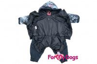 Obleček pro psy malých až středních plemen – lehoučká pláštěnka BLUE DENIM od ForMyDogs. Zapínání na druky na břiše, hladká podšívka. (4)