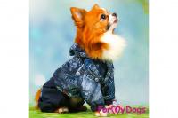 Obleček pro psy malých až středních plemen – lehoučká pláštěnka BLUE DENIM od ForMyDogs. Zapínání na druky na břiše, hladká podšívka. (7)