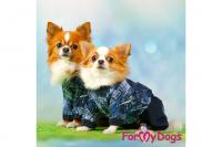 Obleček pro psy malých až středních plemen – lehoučká pláštěnka BLUE DENIM od ForMyDogs. Zapínání na druky na břiše, hladká podšívka. (8)
